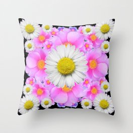 Ebony Black  Color Shasta Daisys & Rose Pattern Garden Art Throw Pillow