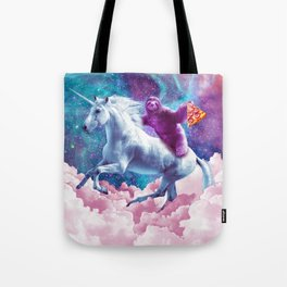 Space Sloth On Unicorn - Sloth Pizza Tote Bag