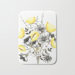 Poppies And Chicory Wildflower Bouquet Bath Mat