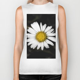 White daisy floating in the dark #1 Biker Tank