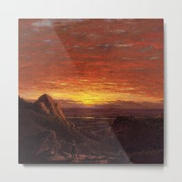 Morning Looking East over the Hudson Valley from Catskill Mountains by Frederic Edwin Church Metal Print
