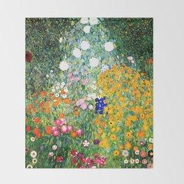 Flower Garden by Gustav Klimt vibrant Throw Blanket