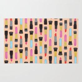 Lipstick and makeup Brushes Pastel Watercolor Artwork | Make-up Pattern | Orange Makeup pattern Rug
