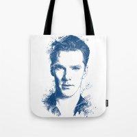 benedict cumberbatch Tote Bags featuring Benedict Cumberbatch by Chadlonius
