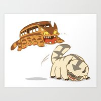 appa Art Prints featuring Catbus vs. Appa by Tami Wicinas