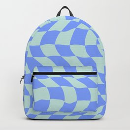 70´s tartan chess groove waves in blue. Backpack