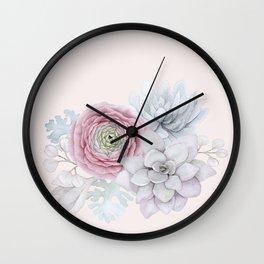 My mexican pastel pink succulent garden Wall Clock