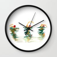 swimming Wall Clocks featuring Swimming by wof!