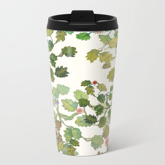 water color garden with flowers! ( Metal Travel Mug