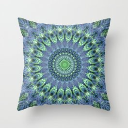 Mandala in light green and blue colors Throw Pillow