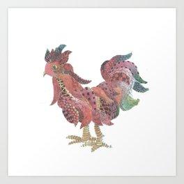 Zen Rooster Art Print