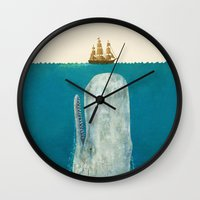 nautical Wall Clocks featuring The Whale - colour option by Terry Fan