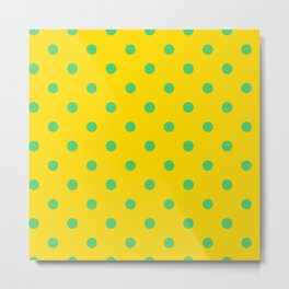 Polka-Dots Love Yellow and Blue Take The Clue Metal Print