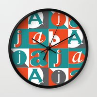 typo Wall Clocks featuring Bajaja Typo by Bajaja