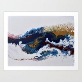 Celebration Navy Burgundy Gold Fluid Marble Painting Art Print