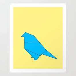 Blue Origami Parot Art Print