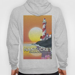 Nantucket Massachusetts lighthouse travel poster Hoody