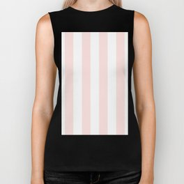 Vertical Stripes - White and Pastel Pink Biker Tank