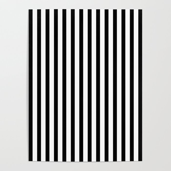 Black & White Small Vertical Stripes - Mix & Match with Simplicity of Life Poster