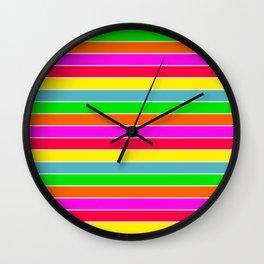 Neon Hawaiian Rainbow Horizontal Deck Chair Stripes Wall Clock