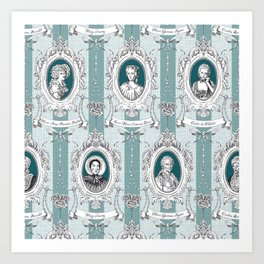 Science Women Toile de Jouy - Teal Art Print