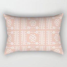 Mudcloth No.4 in Blush + White Rectangular Pillow