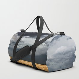 Cotton Candy - Storm Clouds Over Wheat Field in Kansas Duffle Bag
