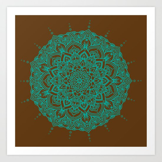 Blue Green Mandala With Droplets On Brown Art Print