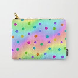 Blurry Rainbow Wavy Stripy Design with Dots Carry-All Pouch