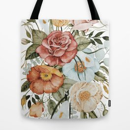Roses and Poppies Tote Bag