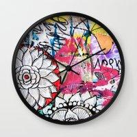 alisa burke Wall Clocks featuring mixed media doodles by Alisa Burke