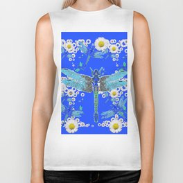BLUE DRAGONFLIES WHITE DAISY FLOWERS  ART Biker Tank