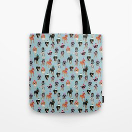 Coonhound in winter hats Tote Bag