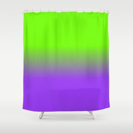 Neon Purple and Neon Green Ombré  Shade Color Fade Shower Curtain