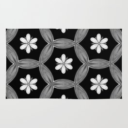 black and white hippie flower pattern Rug