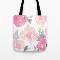 jenna kutcher Tote Bags featuring Muted Floral Watercolor Design  by Jenna Kutcher