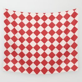Red and White Checkered Diamond Pattern Wall Tapestry