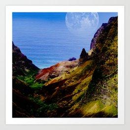Hawaii Moon Over Coastal Cliffs Art Print