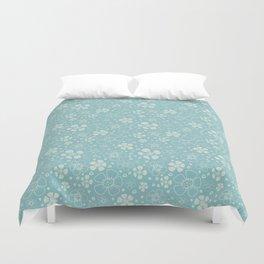 Baby Blue Floral Duvet Cover