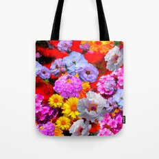 PINK-YELLOW-WHITE FLOWERS ON RED Tote Bag