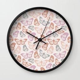 Orange & Pink Butterfly Pattern Wall Clock