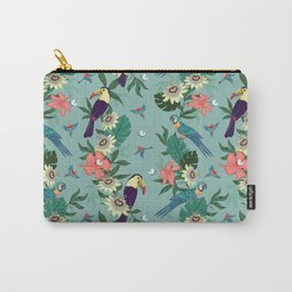 Toucans and Parrots in the Passion Flowers Carry-All Pouch
