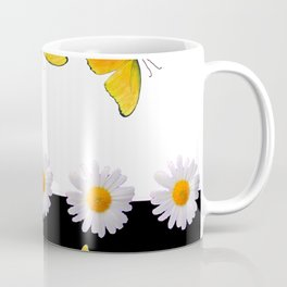 BLACK MODERN ART YELLOW BUTTERFLIES & WHITE DAISIES  ABSTRACT Coffee Mug