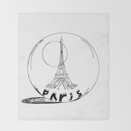 paris in a glass ball . Black-and-white . Art Throw Blanket
