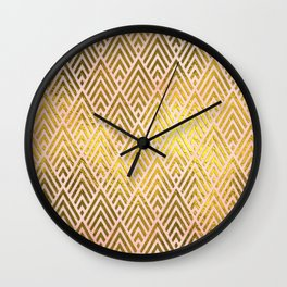 Gold foil triangles on pink - Elegant and luxury triangle pattern Wall Clock