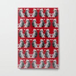 Santa Monkeys in Red Metal Print