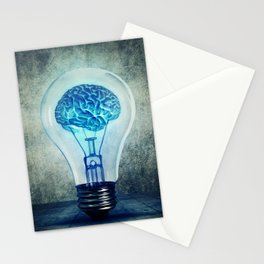 lightbulb brain shining Stationery Cards