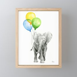 Elephant Watercolor Baby Animal with Balloons Blue Yellow Green Framed Mini Art Print
