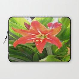 Orange Amaryllis Flower Blooms in Springtime  Laptop Sleeve