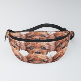 Toy poodle red brown Dog illustration original painting print Fanny Pack